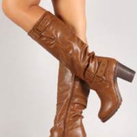Push Pin Strappy Chunky Heel Knee High Boot