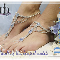 SOMETHING BLUE rhinestone silver Barefoot sandals wedding shoes bridal bridesmaid beach wedding Shoe foot Jewelry Catherine Cole Studio SJ3