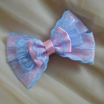 Hair bow - pastel blue and baby pink - fairy kei decora lolita harajuku romantic victorian princess fashion kawaii costume bow nekollars