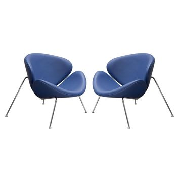 Set of (2) Roxy Accent Chair with Chrome Frame - BLUE