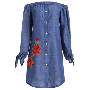 Plus Size Floral Applique Chambray Off Shoulder Dress