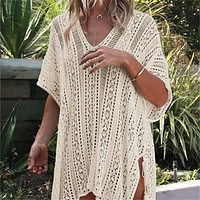 New Arrivals Sexy Beach Cover up White Crochet Robe de Plage Pareos for Women Swim Wear Saida de Praia Beachwear Coverups