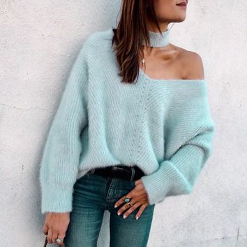 Unique Fashion Style Halter Bear Shoulder Loose Women Sweater