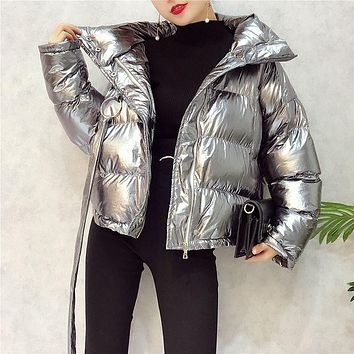 Silver Down Jacket Female Parkas Street Zipper Long Sleeve Winter Coat 2017 Women Warm Parka Jacket Women