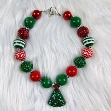 RTS Christmas Tree Chunky Necklace