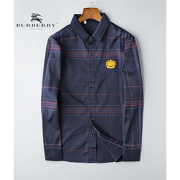 BURBERRY Autumn Fashion Men Women Classic Embroidery Blue Plaid Long Sleeved Lapel Shirt Top