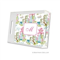 Boatman Geller Personalized Chinoiserie Spring Lucite Tray
