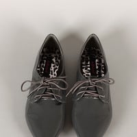 Dollhouse Confident Pointy Toe Lace Up Oxford Flat