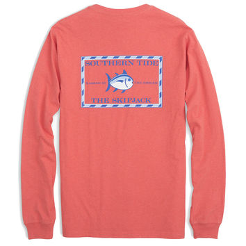 Long Sleeve Heathered Original Skipjack Tee in Cayenne by Southern Tide