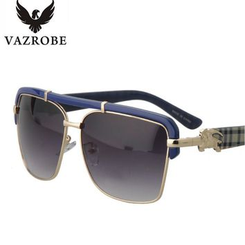 VAZROBE Mens Oversized Sunglasses Luxury Brand Designer Flat Top Gold Square Sun Glasses for Men Fashion Large Face Steampunk