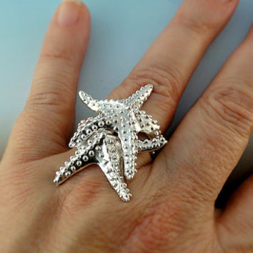 Double Sterling Silver Starfish Ring - large starfish ring that makes a statement.
