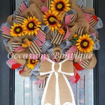 Burlap Summer Wreath, Spring Wreath, Sunflower Wreath, Front door Wreaths, Wreath for door, Door Hanger, Ready to Ship
