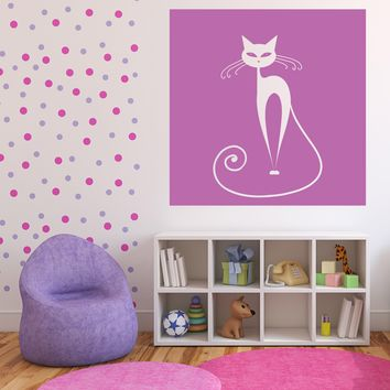 Wall Vinyl Wall Sticker Decal White Sitting Cat Eyes Tail on Background n993