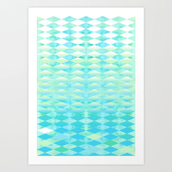Aqua Watercolor With Ombre Harlequin Pattern Art Print by K_c_s