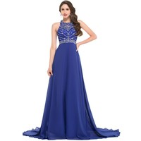Royal Blue Evening Dress Chiffon Backless Floor Length Formal Gowns Long Mermaid Evening Dresses For Party