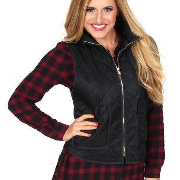 Say You Will Black Quilted Vest | Monday Dress Boutique