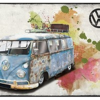VW Bus Heavy Patina Wall Art