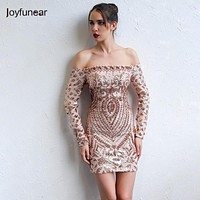 Elegant Sequined Dress Off The Shoulder Long Sleeve Ladies Sexy Chic Dress Outfit For women