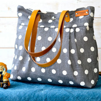 POLKA DOT Gray Purse- 6 Pockets
