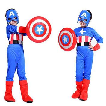 DCCKWQA Free shipping Halloween costume cosplay Captain America shield children suit boy show costumes Masquerade Costume