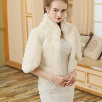 Ivory Women Wedding Wrap Winter Warm Coat High Collar Bridal Jacket