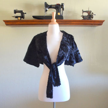 Vintage Black Fur Stole or Shawl, Incredibly Soft with a Beautiful Sheen, Likely Sheared Beaver Fur, 1940s-1950s Era Fur Capelet