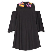 Black  Floral Printed Cut-Out Sleeves Collared Chiffon Top