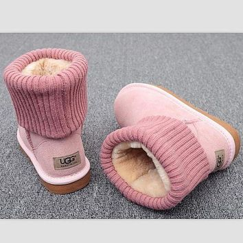 CHEN1ER UGG Fashion Plush leather boots boots in tube Boots Pink