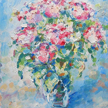 Spring flowers bouquet in glass vase. Original oil painting Wall decor panel Nursery art. Pastel colors Gift for Mother Flowers Abstract Art