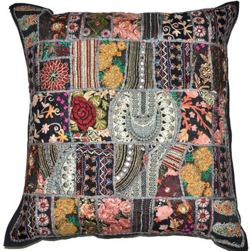 """24"""" Large Black Patchwork Decorative Throw Pillow, Vintage Embroidered pillow cover Indian Ethnic Floor Pillow, Outdoor Pillow, Sofa Pillow"""
