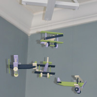 Airplane Baby Mobile Nursery Decor - Bye Bye Airplane - Navy Green Purple and Ivory