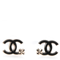 CHANEL Enamel CC Clover Earrings Black and Gold