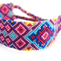 Moroccan Macrame Friendship Bracelet Inch Wide Cuff -  multicoloured handwoven gift for best friends