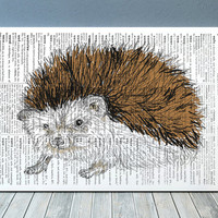 Animal print Hedgehog poster Dictionary decor Wildlife print RTA682