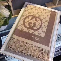 GUCCI : Woman Accessories Cape Scarf Scarves Brown