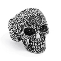 "Large ""Sugar Skull"" Ring by Billy Rebs (Silver)"
