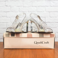 Sexy 70s Disco Chic Clear Acrylic Peep Toe Slingback Shoes with Wedge Heels