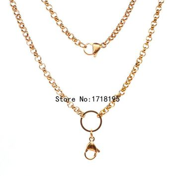 Free shipping 24 inches 4.0mm width Stainless steel rolo chain rose gold floating locket chains necklace chain LFH_049