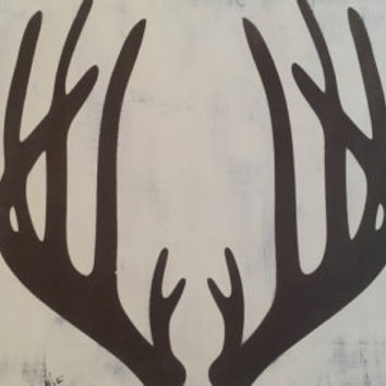 Wooden Holiday Rustic Deer Antler Sign-WHITETAIL-Wall Gallery Art, Custom Wood Sign, Gifts for Her, Reindeer, Holiday Decor, Subway Sign