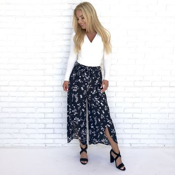 Sweet Split Floral Trouser Pants