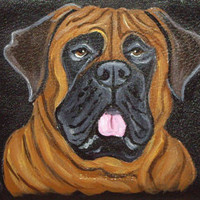 Bullmastiff Mastiff Dog Custom Painted Leather Checkbook Cover