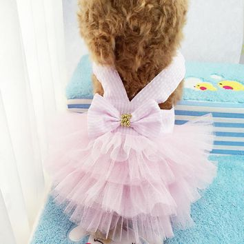 Summer Wedding Dog Dress Puppy Princess Skirt Cat Clothes for Small Dog Funny Pet Costume Bowknot Floral Ropa de Perro 3