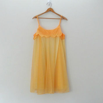 1960s Yellow Sheer Scallop Slip Mini Dress by lousybeatnik on Etsy