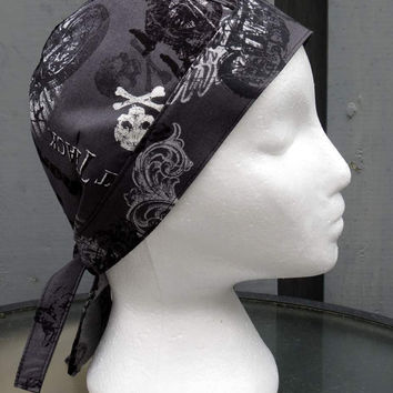 Bikers Skull Cap, Bandana, Do Rag, Grey Vintage Garage, Classic Motorcycle