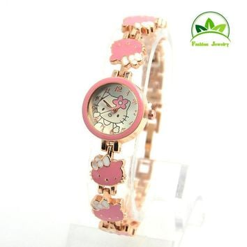 Hot Sales Cute Hello Kitty Rose Gold Bracelet Watch Children Girls Women Fashion Dress Quartz Wristwatches GO085