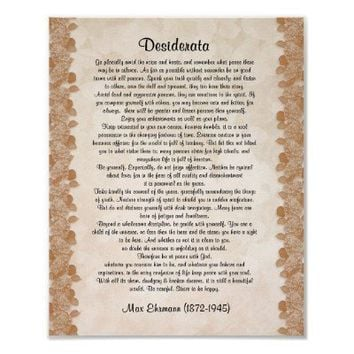 "Desiderata ""desired things"" parchment floral print from Zazzle.com"