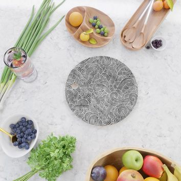 Grey and white swirls doodles Cutting Board by savousepate