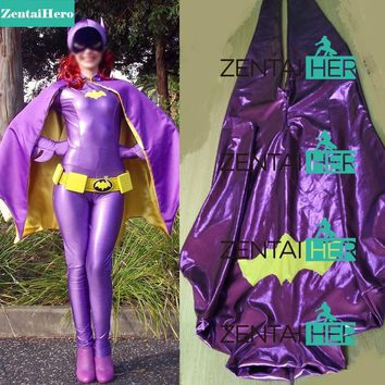 Free Shipping Actual Purple Batgirl Costumes With Cape For Halloween Shiny Girl Womanb Zentai Catsuit Cosplay Superhero Costume