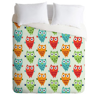 Andi Bird Owl Fun Duvet Cover