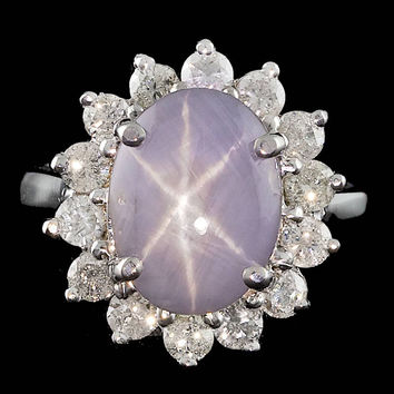 14K WHITE GOLD 5.50CT STAR SAPPHIRE 1.00CT DIAMOND RING